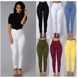 Wholesale Denim Jeans Xl Women - New Women's Fashion Skinny Trousers 2017 High Waist Candy Color Elastic Denim Jeans Trousers Street Style Ladies Casual OL Pants Blue White