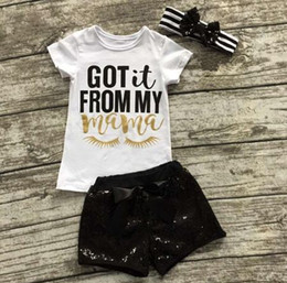 Wholesale Boutique Shirts Baby Girl - kids summer clothes girls boutique clothing sets ins cotton baby sequin headbands + letter print t shirts + black sequin shorts pants outfit