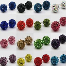 Wholesale Multi Color Bead Bracelet - 8mm Ball Crystal Shamballa Bead Bracelet Necklace Beads Hot New Beads Lot Rhinestone DIY Spacer 50Pcs lot Mixed Multi Color