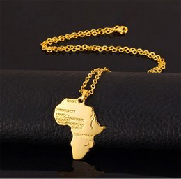 2019 africa mappa pendente d'oro New Fashion Africa Oro Unisex Donna Uomo africano Mappa Collana pendente Hip Hop Jewelry 50cm Box Chain africa mappa pendente d'oro economici