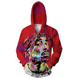 3d графические куртки Скидка Wholesale- Alisister new fashion men women graphic tie-dye jacket print 3d Character Tupac 2Pac coat sweatshirt Casual Harajuku hooded top