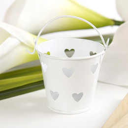 Wholesale White Metal Buckets - Wholesale- 10 X White Color Mini Tin Candy Buckets With Hollow Hearts Wedding Pails Wedding Favor Metal Bucket Candy Box Party Decoration