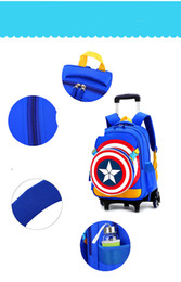 Wholesale Leopard Women S Bags - Institute of six rolling backpack wind pull rod box Captain America's shield bag, a primary school pupil's school bag Canvas backpack free s