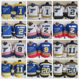 al macinnis Promotion Vintage Blues St.Louis 1 Glenn Hall 2 Al Macinnis Shayne Corson 11 Brian Sutter 20 Alexander Steen blanc bleu Vintage Hockey sur glace maillots