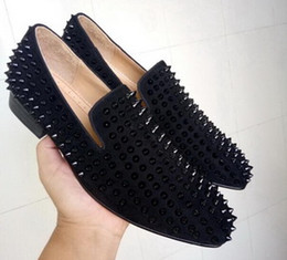 Wholesale Silver Spiked Loafers - Handmade Spikes Rivet Red Bottom Men Loafers Luxury Fashion Round Toes Dress Shoes Men's Wedding and Party Slip on Flats shoes Original Box