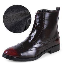 Wholesale Short Boots For Men - Wholesale- Winter Casual Shoes Men Plush Cotton Short Boots Ankle Boots For Men High Tops Brogues Bullock Shoes Flats Patent Leather