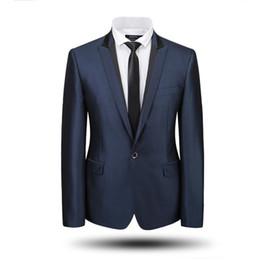 Al por mayor-Por encargo Clásico trajes para hombre Comercio al por mayor Casual Blazer de boda Esmoquin de la boda Shinny azul marino Azul marino Dos piezas de solapa en cresta desde fabricantes