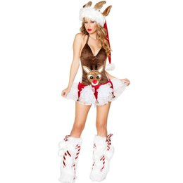 Wholesale Hot Santa Costume - 2017 Hot Summer Women Fashion Costume Adult Sexy Dress Brown Deer Animal Dress Christmas Halloween Costumes Super woman Cosplay Costume