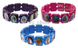 Wholesale Rosary Blue - Saints Jesus Religious Wood Bracelet Catholic Icon Rosary Beads Stretch Bracelets Purple Pink & Blue Free Shipping