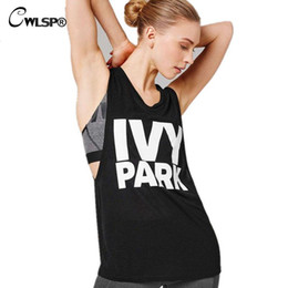 Wholesale Ladies Tshirt Summer - Wholesale-New Beyonce Casual T Shirt IVY PARK Letter Print Sleeveless Tops 2016 Summer Women T-shirt Camiseta Mujer Lady Tshirt QA1080