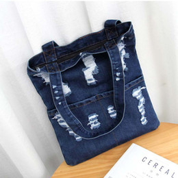 Wholesale Large Denim Tote Bag - Women Canvas Bag Denim Tote Ladies Large Capacity Brief Handbags Female Shopping Book Teacher Nurse Organizer Shoulder Bag