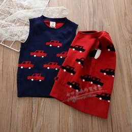 Wholesale Wholesale Child Car Sale - 2017 Spring Autumn New embroidery car boys Sweater Vest Knitting Patterns Vest Children Pullover Sweaters Sale Boys Kids Clothes A934