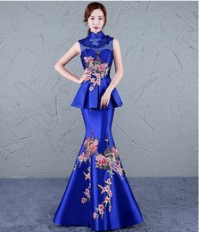 Wholesale Model Dress Cheongsam - New Evening Dress Chinese Style In Cheongsam Mermaid High Collar Lace-up Back Sweep Train Sheath Vintage Elegant Party Peplum Prom Dress