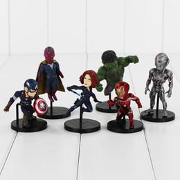 Wholesale Hulk 11 - 6 pcs   lot New Arrivals Avengers Q Version Age of Ultron Hulk Spider-Man Captain America Black Widow PVC Figure Toy collection Decoration