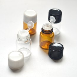 Wholesale Glass Sample Vials Wholesale - 500pcs 2ml Perfume Sample Amber Glass Bottle with Clamshell Orifice Reducer Plug Tubes Essential Oil Mini Clear Vials