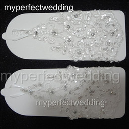 Wholesale Sequin Fingerless Gloves - Short Lace Bridal Gloves Crystal Sequin Beaded Fingerless Wrist Length Wedding Gloves Real Photos High Quality Bridal Party Dress Accessory