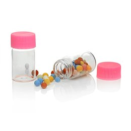 Wholesale Glass Potion Bottles - Wholesale- 5PCs Pink Cover Transparent Small Glass Jars Tiny Glass Storage Bottles Jewelry Vial Potion Home DIY Objects Container