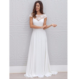white transparent short Coupons - Short Sleeve A Line Wedding Dresses Transparent New Chiffon Backless Scoop Modern Lace Bridal Gowns Custom Made Applique Hot Sale Vestidos