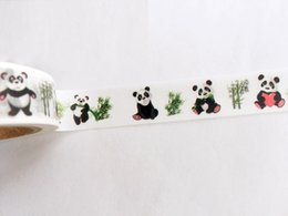 Wholesale Panda Papers - Wholesale- 2016 Cartoon Kawai Panda Pattern Japanese Washi Decorative Adhesive Tape DIY Masking Paper Tape Stickers Label Gift Free shippi