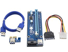 Wholesale Power Supply Sata - new 60cm PCI-E PCIe PCI Express 1x to 16x Riser USB 3.0 Extender Cable with Sata to 4Pin IDE Molex Power Supply for BTC Miner RIG Minerals
