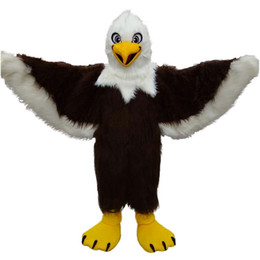Wholesale Eagles Mascot Costume - Brown eagle long wool high quality seagull Mascot Costumes Cartoon Character Adult Sz 100% Real Picture
