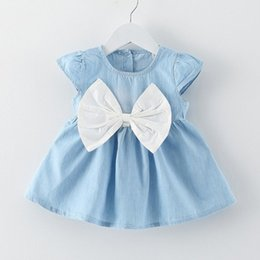 Wholesale Chinese Ladies Dresses - New Baby Girls Bow-knot Mini Dress Baby Summer Style Short Sleeve Party Dress Little Beauty lady