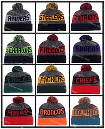 Wholesale Cheap Plaid Tops - Wholesale Pom Pom Beanies All Football Teams Beanies Fashion Skull Caps Mens Sports Beanies Cheap Warm Women On Field Winter Offical Beanie