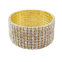 Wholesale Stretch Bangles Crystal - 6 pieces Lots eight rows Wedding Bridal Party Jewelry Crystal Rhinestone Stretch Bracelets Bangle Wholesale Multi Row Wedding Bracelets