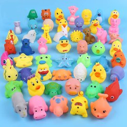 Wholesale Sound Inflatables - Baby Bath Water Toy Sounds Mini Yellow Rubber Ducks Kids Bathe Children Swiming Beach Gifts More than 50 Animals 500pcs Free DHL