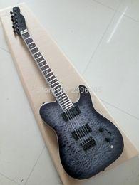 Wholesale Guitar Electric Black Tele - wholesale Hot Sale telecast electric guitar one piece tl guitar black color water ripples maple cover mahogany body tele guitar
