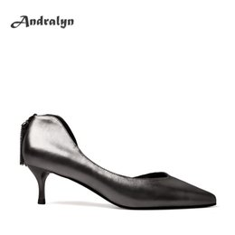 Wholesale Silver Low Heeled Pumps - Andralyn high heels shoes women genuine leather Gun color pointed toe Comfortable 5 cm thin heel party ladies office shoes