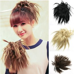 Wholesale Natural Hair Extensions Ponytail - Wholesale-Natural Black Brown Short Wavy Curly Bomb Hairpiece Ponytail Hair Extensions Cheap Women's Ponytails