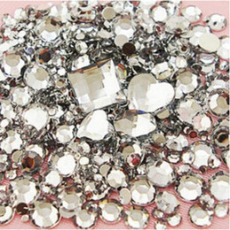 Wholesale Crystal Clear Nail Acrylic - Wholesale-Mix Sizes 1000pcs crystal Clear Round Acrylic Loose Flatback Rhinestone Nail Art Crystal Stones For Wedding Clothing Decorations f