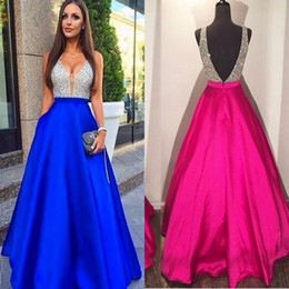 Wholesale Dresses Zipper Back - 2017 New Sexy V-Neck Prom Dresses A-Line Beads Backless Zipper Evening Dresses Real Pic Custom Made Guest Dresses With Free Necklace