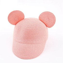 Wholesale baby boy brim hats - Mickey Ears Hat 2017 New Summer Kids Sun Caps Straw Hat Caps Soild Beach Lovely Girl Sun Hat Baby Caps LF-10409