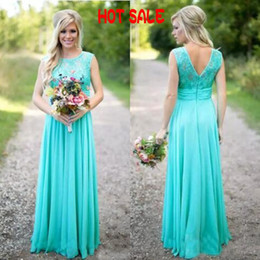 Wholesale Cheap Aqua Bridesmaid Dresses - 2017 Boho Country Bridesmaid Dresses 2017 Long Formal Wedding Guest Dress Aqua Lace Chiffon Zipper up Maid of Honor Gowns Custom Made Cheap