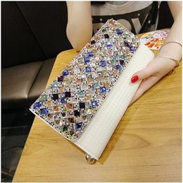 Wholesale Leopard Style Clutch - New hot style bag handbag 2017 famous brand spring contracted fashion diamond single crystal shoulder slope across the chain handbag wallet