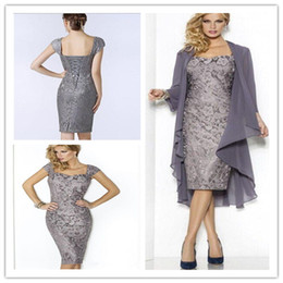 Wholesale Groom Silver Grey Suits - Grey Elegant Sweetheart Mothers Dresses Tea Length Sheath Lace Mother Of The Bride Groom Dresses with Jacket Moms Gowns