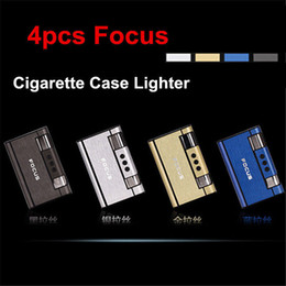 Wholesale Ejection Cigarette Case - Wholesale- 4x Focus Automatic Ejection Cigarette Butane Cigarette Case W  Internal Lighter