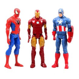 Wholesale marvel avengers action figures - Genuine Spiderman Marvel Avengers Assemble Titan Hero Captain America PVC 3D Model 12inch Action Figure Doll Toys For Children