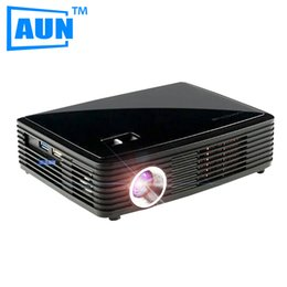 Wholesale Dlp 3d Active Glasses - Wholesale-AUN 4k Chip Projector 1280*800 + 1 Active 3D Glasses for Gift Set in WIFI Bluetooth Android 4.4 Support DLAN Airplay