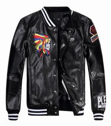 Wholesale Design Headgear - 2016 new PU Leather jacket cardigan men's motorcycle high-end embroidery headgear standing male collar leather