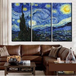 Wholesale Van Gogh Prints Canvas - 3pcs set Unframed The Starry Sky Van Gogh Abstract Oil Painting On Canvas Giclee Wall Art Painting Art Picture For Home Decor