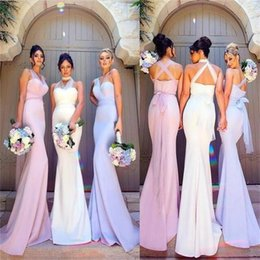 Wholesale Unique Bridesmaid - 2018 Charming Most Popular Mermaid New Unique Long Convertible Bridesmaid Dresses Floor Length Satin Bridesmaid Dress Prom Party Gowns