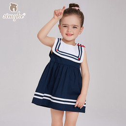 Wholesale Sailor Clothes For Girl - Brand Simyke Girls Sleeveless Navy Dresses Summer Sailor Collar Dress For Child Girl 2017 New Toddler Clothing Kids Children Clothes D8153
