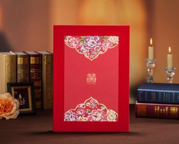 Wholesale Party Guest Books - Red Wedding Guest Books Gift Book Hardcover Chinese Floral Printing Hot stamping Happiness Festival & Events Party Visitors' book Album Log