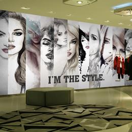 Canada Vente en gros-gratuit Mode fille papier peint salon de coiffure aquarelle vêtements salon de beauté café KTV papier peint murale Offre