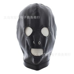 Wholesale Soft Leather Fetish Hoods - Hot !!!Sex Mask Adult Games Sex Products Funny Black Soft Sexy Fetish PU Leather Restraints Headgear Hood Mask Slave Men Erotic Toys