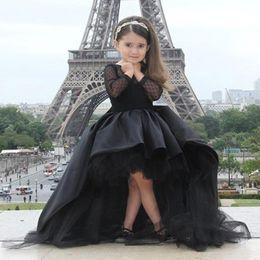 Wholesale Short Red Ruffle Lace Dress - Fashion New Style 2017 Jewel Collar Black Tulle Taffeta Little Girls Formal Dresses Front Short Long Back Kids Prom Girl Dresses T040