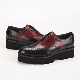 Wholesale Bridegroom Shoes - Unique wine red oxfords formal platform shoes mens dress shoes genuine leather bridegroom shoes outdoor mens casual